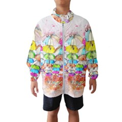 Umbrella Art Abstract Watercolor Wind Breaker (kids)