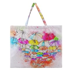 Umbrella Art Abstract Watercolor Zipper Large Tote Bag