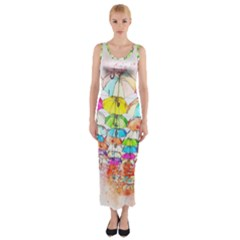 Umbrella Art Abstract Watercolor Fitted Maxi Dress