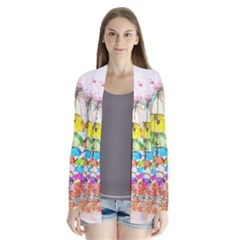 Umbrella Art Abstract Watercolor Drape Collar Cardigan