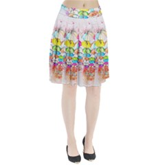 Umbrella Art Abstract Watercolor Pleated Skirt