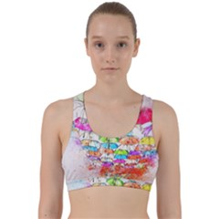 Umbrella Art Abstract Watercolor Back Weave Sports Bra