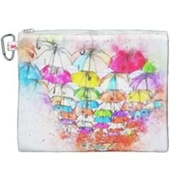 Umbrella Art Abstract Watercolor Canvas Cosmetic Bag (xxxl) by Nexatart