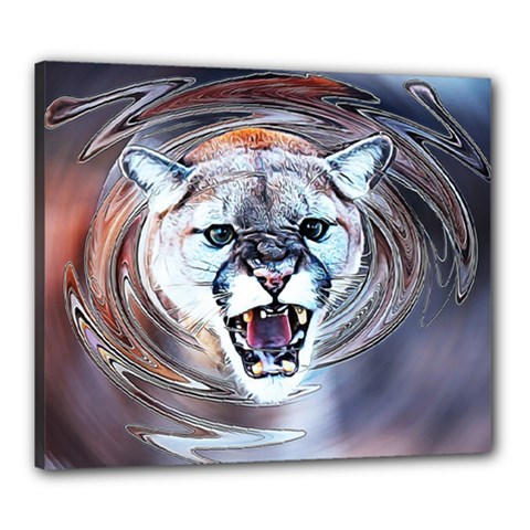 Cougar Animal Art Swirl Decorative Canvas 24  X 20