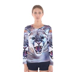 Cougar Animal Art Swirl Decorative Women s Long Sleeve Tee