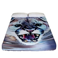 Cougar Animal Art Swirl Decorative Fitted Sheet (king Size) by Nexatart