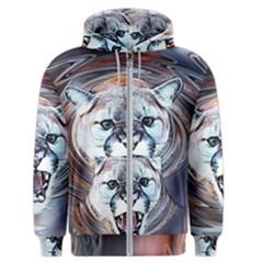 Cougar Animal Art Swirl Decorative Men s Zipper Hoodie