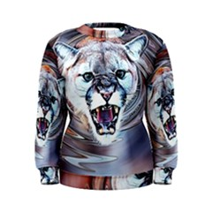 Cougar Animal Art Swirl Decorative Women s Sweatshirt