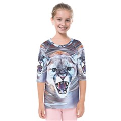 Cougar Animal Art Swirl Decorative Kids  Quarter Sleeve Raglan Tee by Nexatart