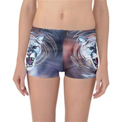 Cougar Animal Art Swirl Decorative Reversible Boyleg Bikini Bottoms