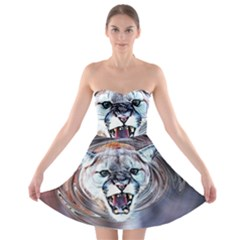 Cougar Animal Art Swirl Decorative Strapless Bra Top Dress