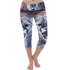 Cougar Animal Art Swirl Decorative Capri Yoga Leggings