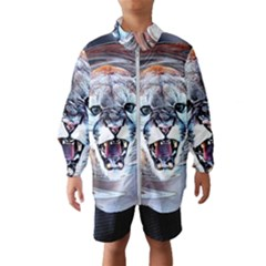 Cougar Animal Art Swirl Decorative Wind Breaker (kids) by Nexatart