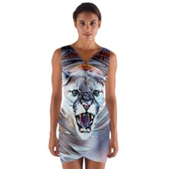 Cougar Animal Art Swirl Decorative Wrap Front Bodycon Dress by Nexatart