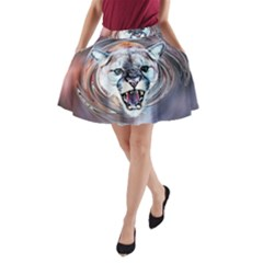 Cougar Animal Art Swirl Decorative A Line Pocket Skirt
