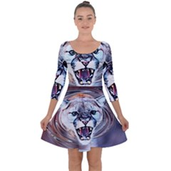 Cougar Animal Art Swirl Decorative Quarter Sleeve Skater Dress