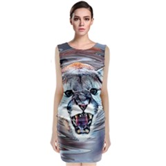 Cougar Animal Art Swirl Decorative Classic Sleeveless Midi Dress