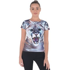 Cougar Animal Art Swirl Decorative Short Sleeve Sports Top  by Nexatart