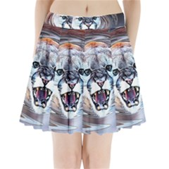 Cougar Animal Art Swirl Decorative Pleated Mini Skirt by Nexatart