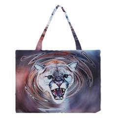 Cougar Animal Art Swirl Decorative Medium Tote Bag by Nexatart