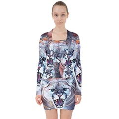 Cougar Animal Art Swirl Decorative V Neck Bodycon Long Sleeve Dress by Nexatart