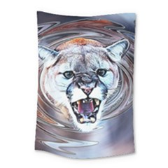 Cougar Animal Art Swirl Decorative Small Tapestry by Nexatart