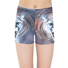 Cougar Animal Art Swirl Decorative Kids Sports Shorts