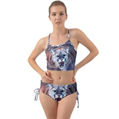 Cougar Animal Art Swirl Decorative Mini Tank Bikini Set