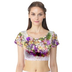 Flowers Bouquet Art Nature Short Sleeve Crop Top