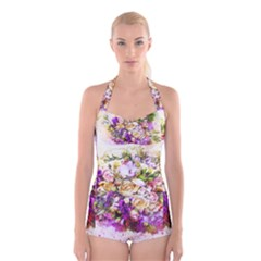 Flowers Bouquet Art Nature Boyleg Halter Swimsuit