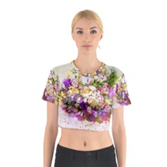 Flowers Bouquet Art Nature Cotton Crop Top