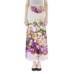 Flowers Bouquet Art Nature Full Length Maxi Skirt