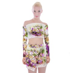 Flowers Bouquet Art Nature Off Shoulder Top With Mini Skirt Set