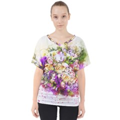 Flowers Bouquet Art Nature V Neck Dolman Drape Top