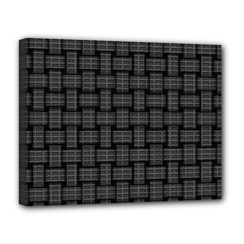 Background Weaving Black Metal Canvas 14  X 11