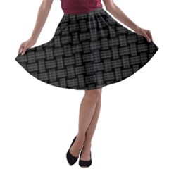 Background Weaving Black Metal A Line Skater Skirt