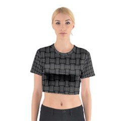 Background Weaving Black Metal Cotton Crop Top