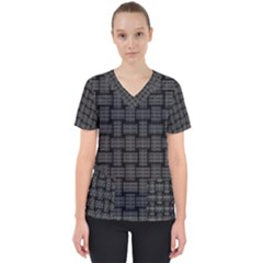 Background Weaving Black Metal Scrub Top