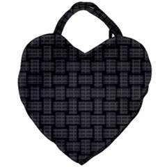 Background Weaving Black Metal Giant Heart Shaped Tote