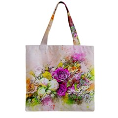 Flowers Bouquet Art Nature Zipper Grocery Tote Bag by Nexatart