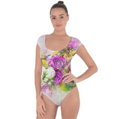 Flowers Bouquet Art Nature Short Sleeve Leotard