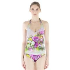 Flowers Bouquet Art Nature Halter Swimsuit