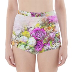 Flowers Bouquet Art Nature High Waisted Bikini Bottoms