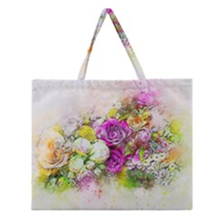Flowers Bouquet Art Nature Zipper Large Tote Bag