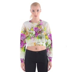 Flowers Bouquet Art Nature Cropped Sweatshirt