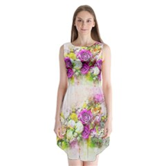 Flowers Bouquet Art Nature Sleeveless Chiffon Dress