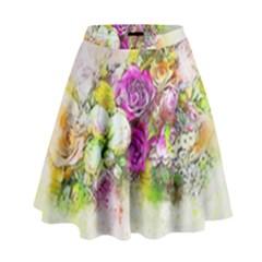 Flowers Bouquet Art Nature High Waist Skirt by Nexatart