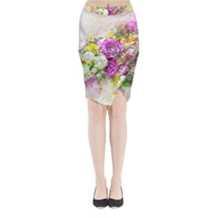 Flowers Bouquet Art Nature Midi Wrap Pencil Skirt