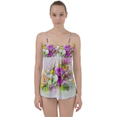Flowers Bouquet Art Nature Babydoll Tankini Set