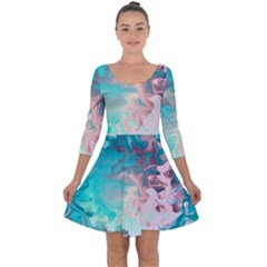 Background Art Abstract Watercolor Quarter Sleeve Skater Dress